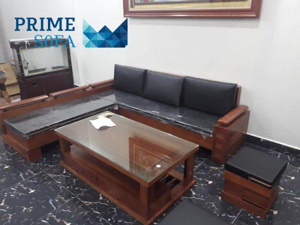 sofa go tu nhien boc da PMS002 600x450 - Sofa gỗ tự nhiên bọc da PMS 002