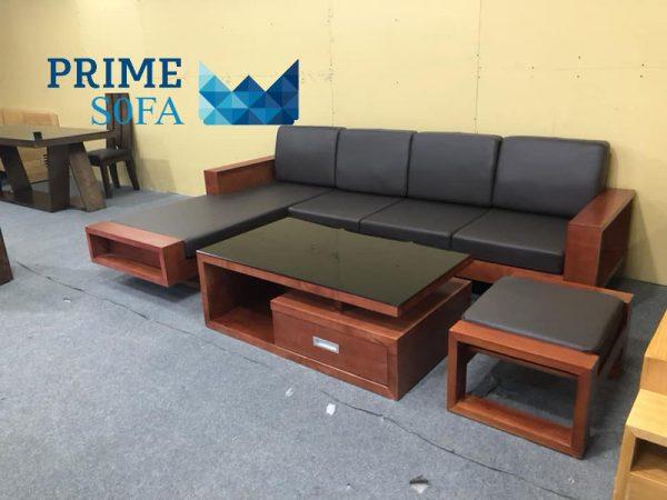 sofa go tu nhien boc da PMS003 600x450 - Sofa gỗ tự nhiên bọc da PMS 003
