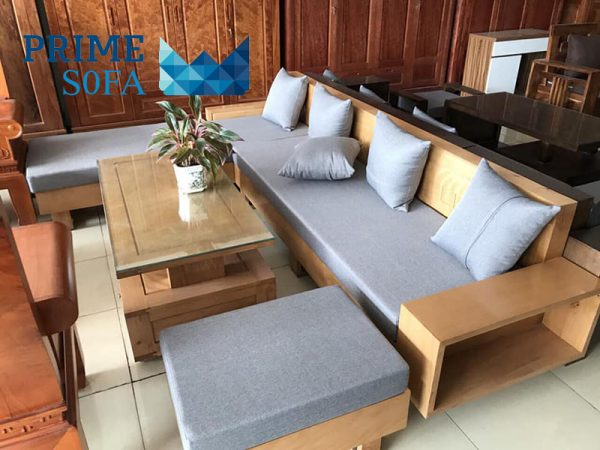 sofa go tu nhien boc ni PMS001 600x450 - Sofa gỗ tự nhiên bọc nỉ PMS 001