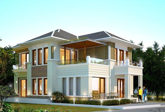 biet thu 2 tang - Dịch vụ xây nhà trọn gói tại Hà Nội