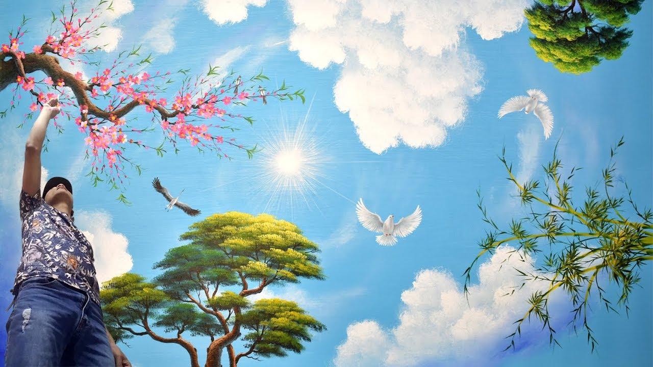 ve tran may 3d dep - Hoạ sĩ Vẽ trần mây 3d đẹp chuyên nghiệp