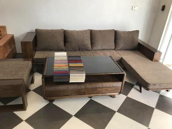 sofa go dep 600x450 - Bộ sofa gỗ góc đẹp kích thước 2m5 x 1m6