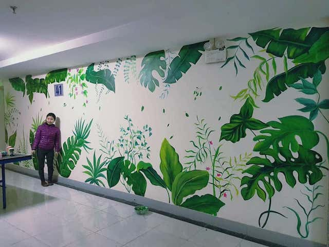 tranh tuong noithatprime008 - Hoạ sĩ Vẽ tranh tường phong cảnh thiên nhiên, cây cối hoa lá chuyên nghiệp