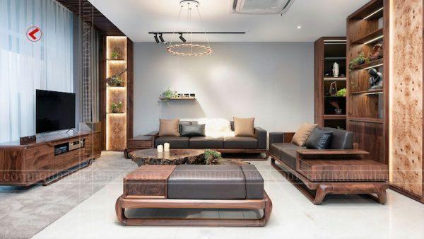 mau sofa go oc cho 600x338 - Sofa gỗ óc chó chung cư cao cấp Royal City