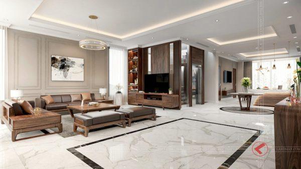 sofa go oc cho dep phong khach3 600x338 - Bộ sofa gỗ óc cho biệt thự Gamuda Gardens